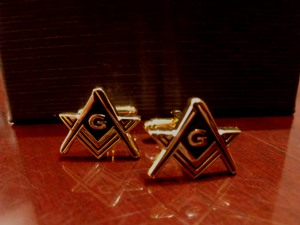 Gold Plated Sq and compass shaped cufflinks